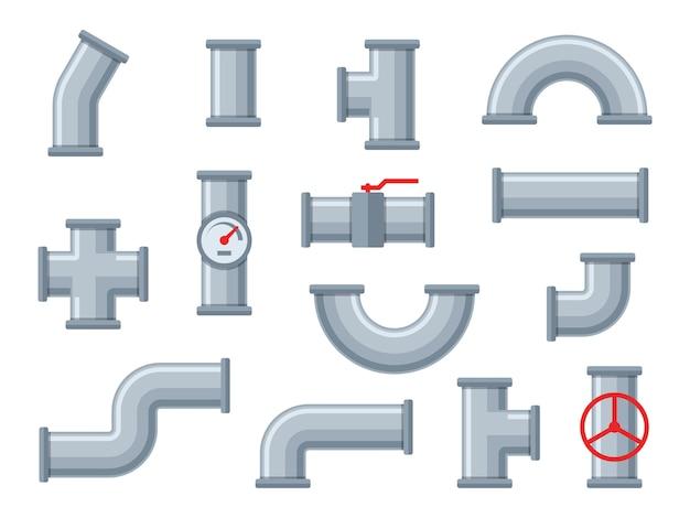 Водопроводные трубы. пластиковые трубы различных типов, фильтры для сточных вод. смеситель кран, фитинги промышленное трубопроводное оборудование инженер строительный сантехнический комплект Premium векторы