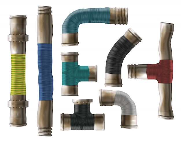 Water pipes rolled repair type realistic vector Free Vector