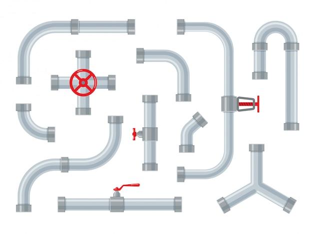 Водопроводные трубы. стальные и пластиковые соединители для трубок. детали трубопроводов, арматура и сантехника изолированы. набор промышленных канализационных систем в модном плоском стиле. Premium векторы