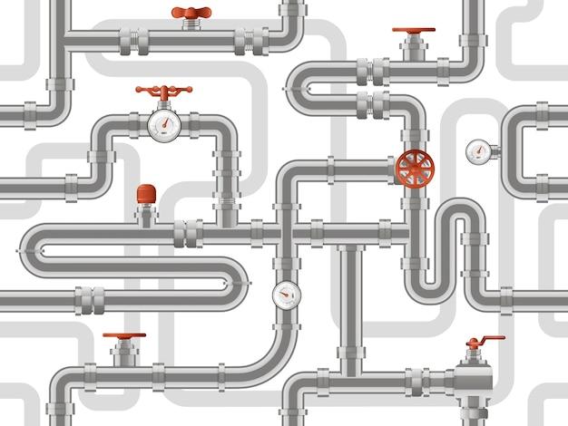 Система водопровода. строительный образец металлических трубопроводов, промышленные трубы с счетчиками клапанов, строительный фон трубопроводов. строительство канализации образца, иллюстрация трубопровода Premium векторы