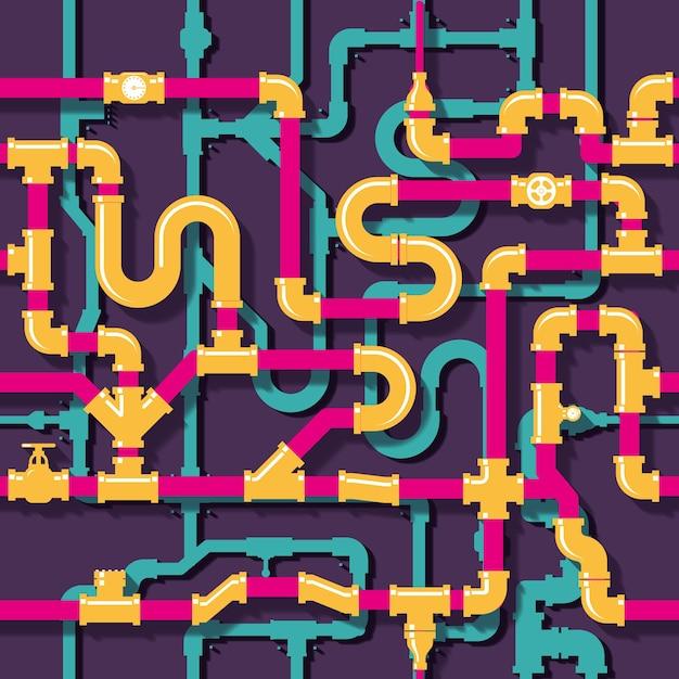 Водопровод. трубопровод и труба, иллюстрация промышленного строительства Бесплатные векторы