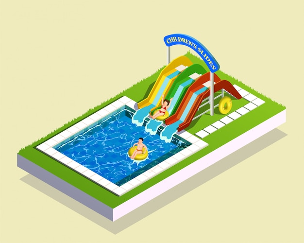 Water play park composition Free Vector