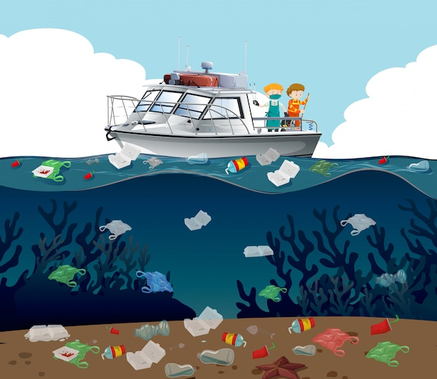 Water pollution illustration with trash in the ocean Free Vector