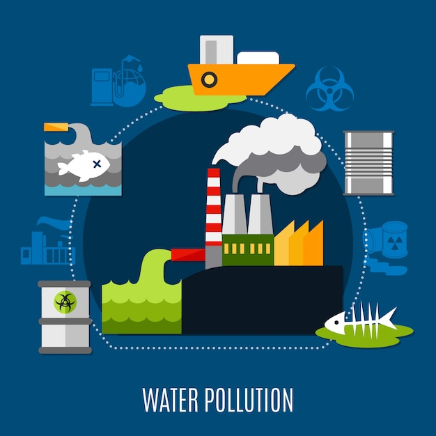 Water pollution illustration Free Vector