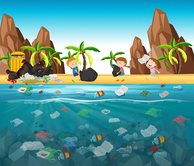 Water pollution with plastic bags in ocean Free Vector