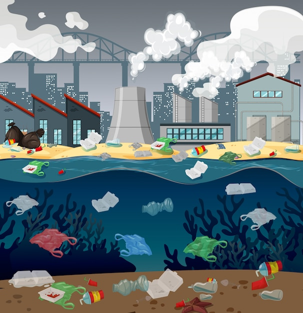 Water pollution with plastic bags in river Free Vector