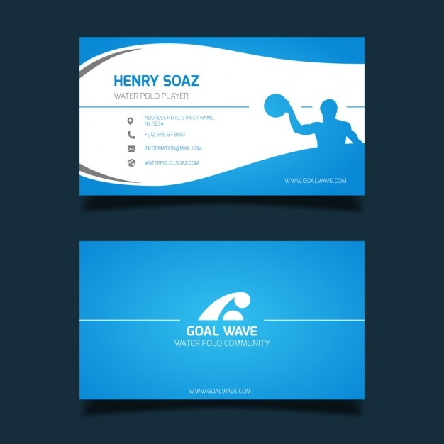Water polo business card Free Vector