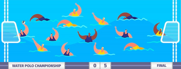 Water polo competition athlete players sportsmen in pool championship  illustration. Premium Vector