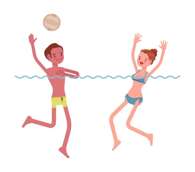 Water polo young man and woman playing set Premium Vector