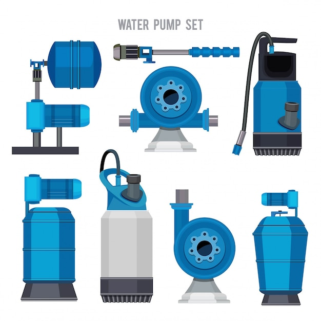 Water pump system. aqua treatment electronic steel compressor agriculture sewage station  icons set Premium Vector