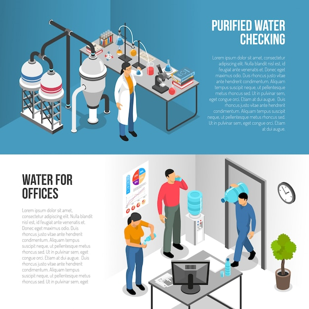 Water purification banners Free Vector