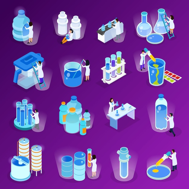 Water purification isometric and flat icon set with scientists work at the laboratory illustration Free Vector