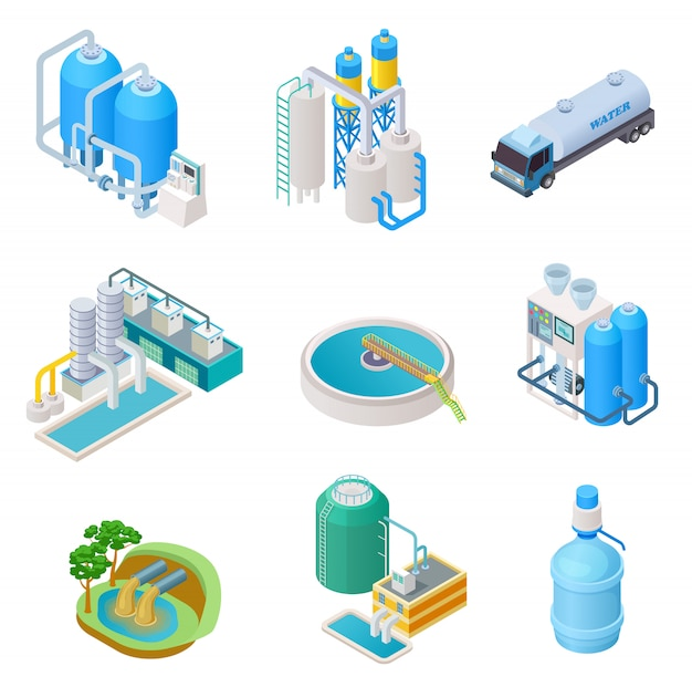 Water purification technology. isometric treatment water industrial system, wastewater separator vector isolated set Premium Vector
