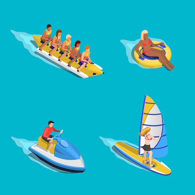 Water riding people set Free Vector