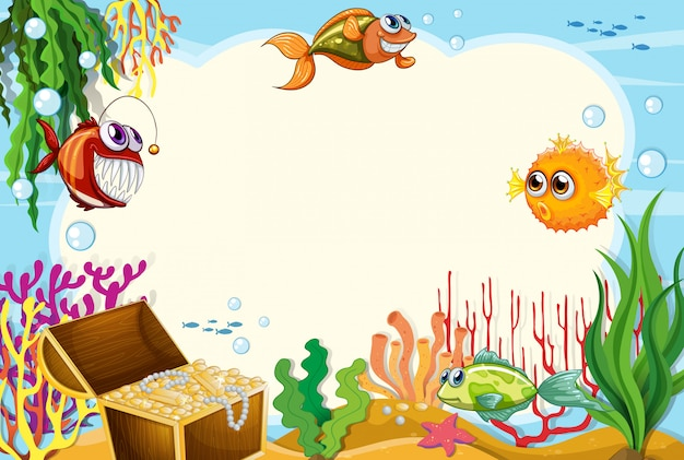 Under water scene background with copyspace Free Vector