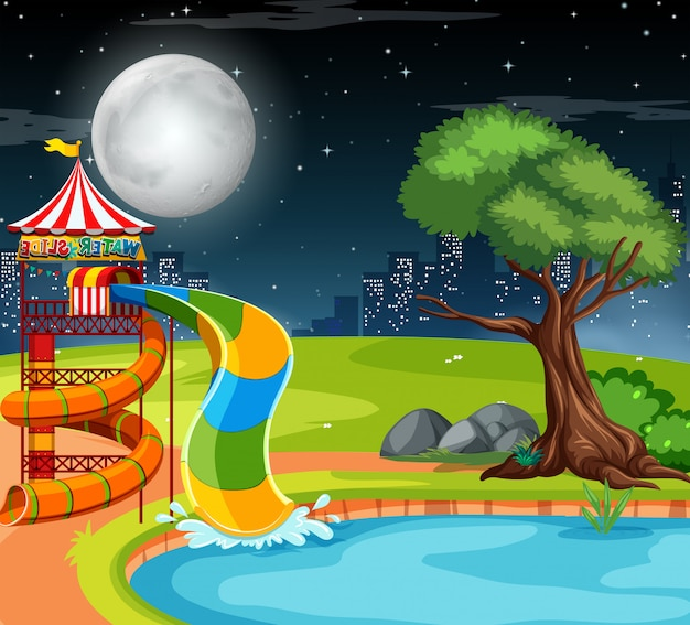 Water slide in the park Free Vector