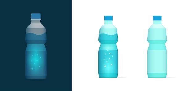 Бутылка содовой воды вектор значок клипарт полный и пустой, пустой пластиковый бутилированный минеральный напиток напиток Premium векторы