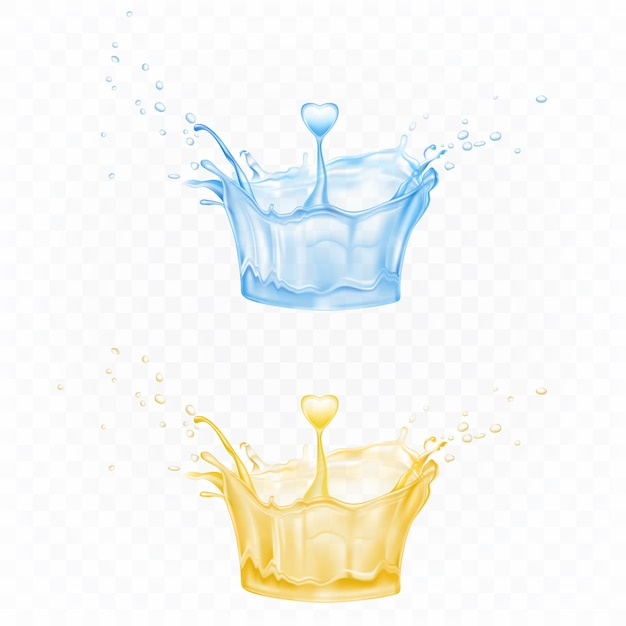 Water splash set in shape of crown in blue and yellow colors with spray droplets and heart drop Free Vector
