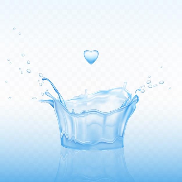 Spruzzata di acqua a forma di corona con gocce di spray e goccia di cuore su sfondo blu trasparente. Vettore gratuito