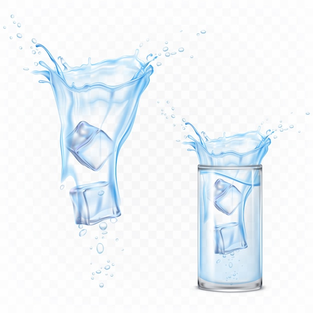 Water splash with ice cubes and glass. dynamic motion of pure liquid with droplets and air bubbles, pure hydration element for ad isolated. realistic 3d vector illustration Free Vector
