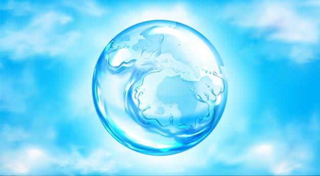 青い空に水しぶき球 無料ベクター