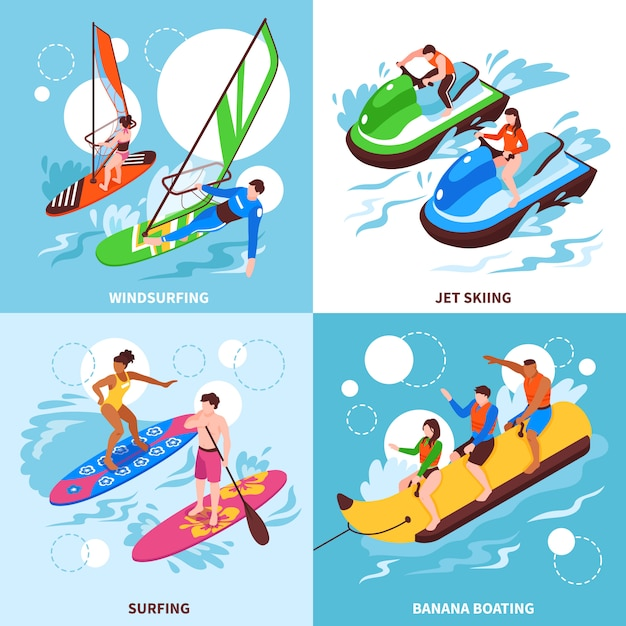 Water sport 2x2  set of windsurfing jet skiing banana boating and surfing square icons isometric Free Vector