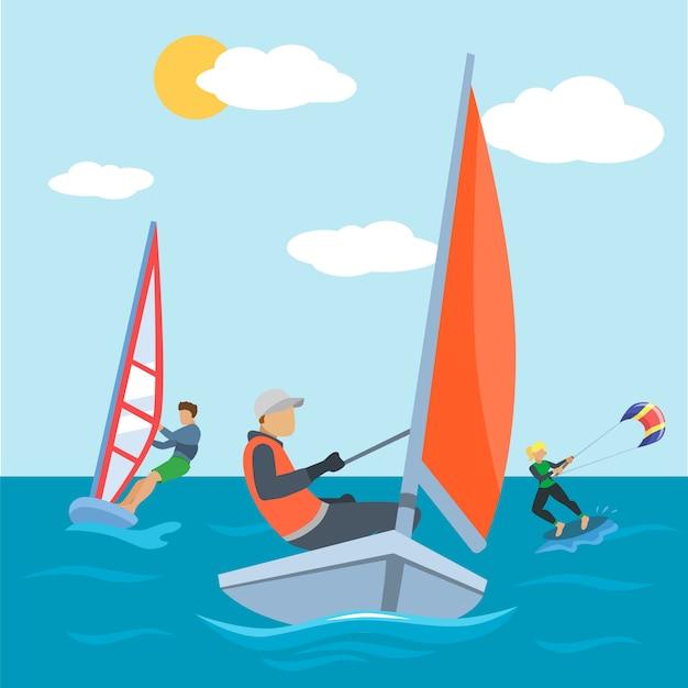 海、カイト、サーフィンの活動図でのウォータースポーツ。極端なサーファーの人々のキャラクターは、夏のビーチでアクティブな楽しみを持っています Premiumベクター
