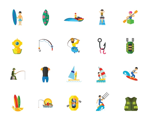 Water sport athletes icon set