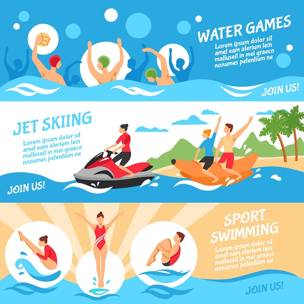 Water sport banners set Free Vector