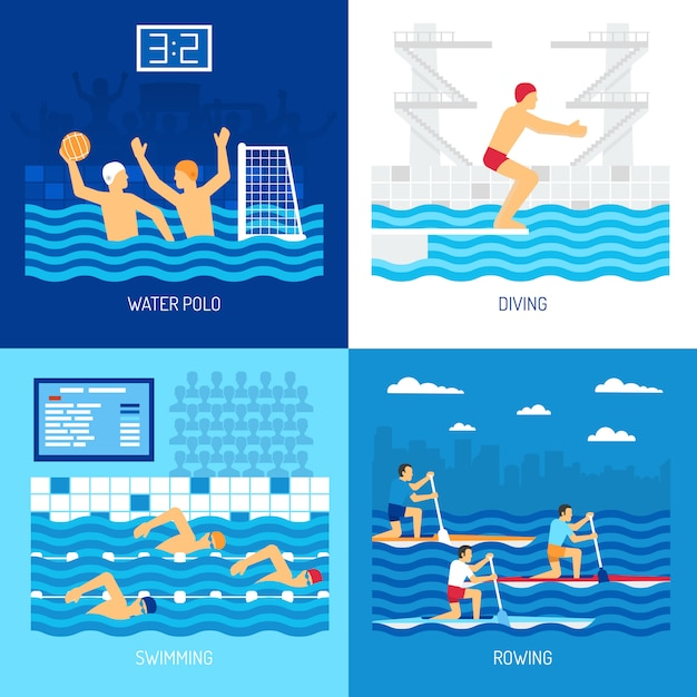 Water sport card set illustration Free Vector