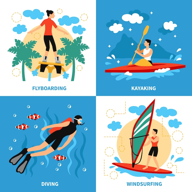 Water sport characters Free Vector