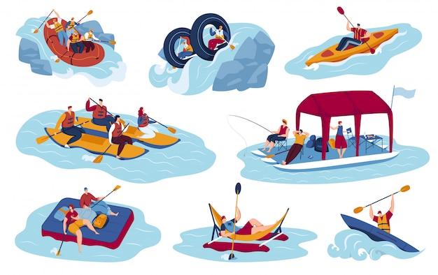 Набор векторных иллюстраций водного спорта туризма Premium векторы