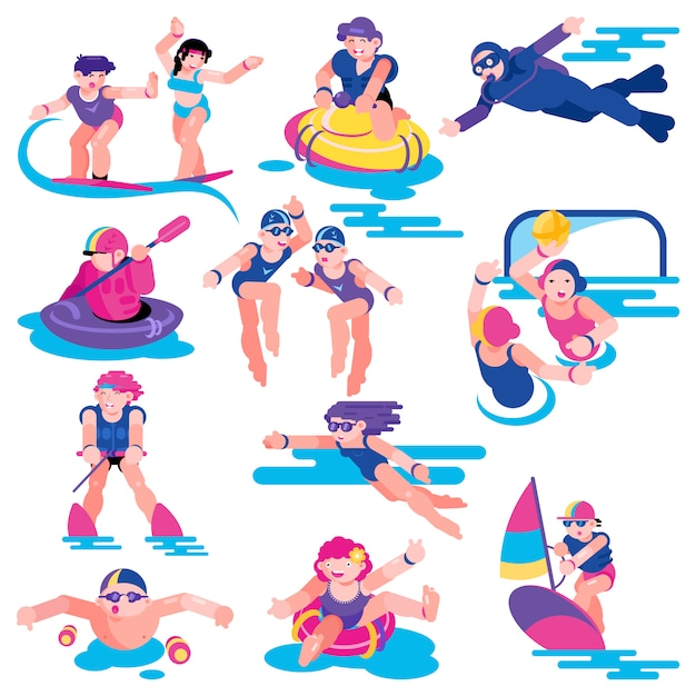 Water sport vector people character on vacation surfing on surf board illustration set Premium Vector