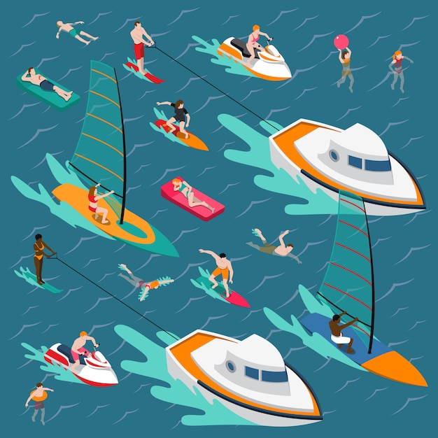 Water sports colored people composition Free Vector