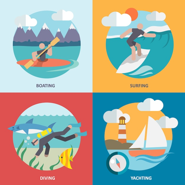 Water sports elements composition set flat Free Vector