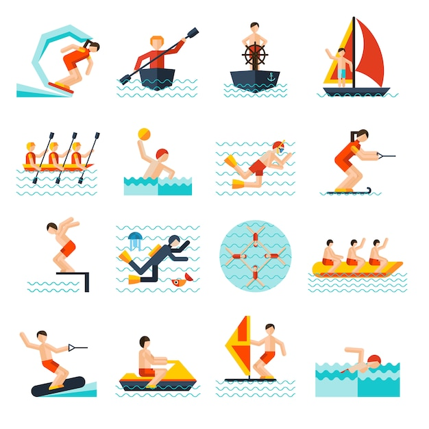 Water sports icons set Free Vector