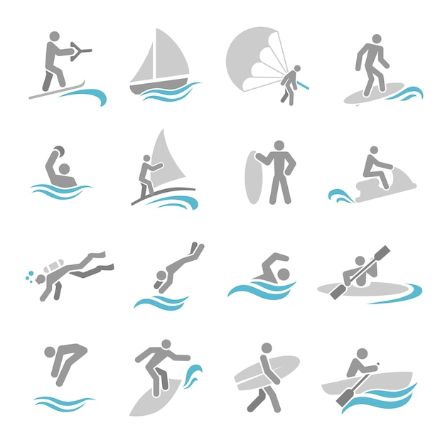 Water sports icons set Premium Vector