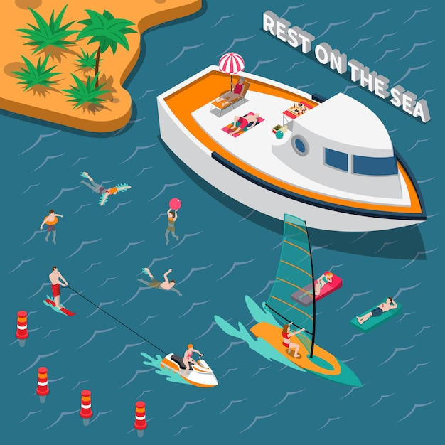 Water sports isometric people concept Free Vector