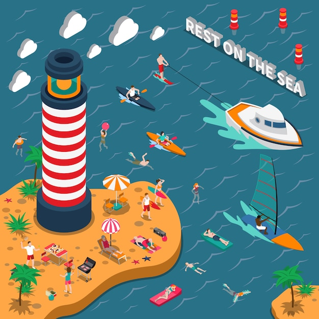 Water sports isometric people poster Free Vector