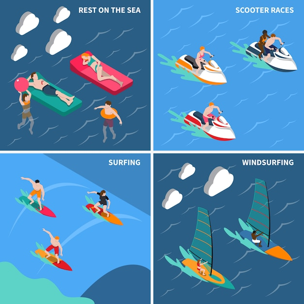 Water sports people icon set Free Vector