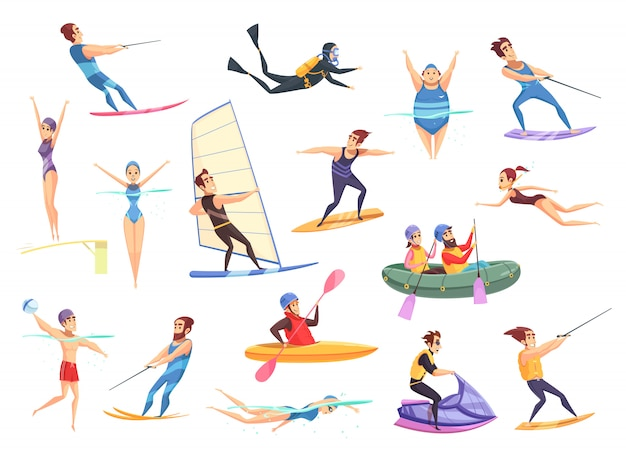 Water sports set Free Vector