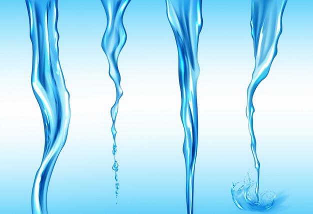 물 스트림 세트, 액체의 고립 된 흐름 모션 무료 벡터