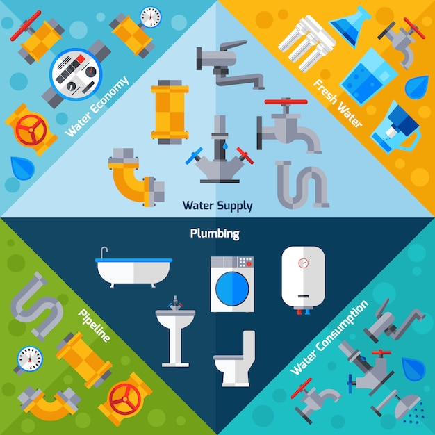 Water supply corners Free Vector