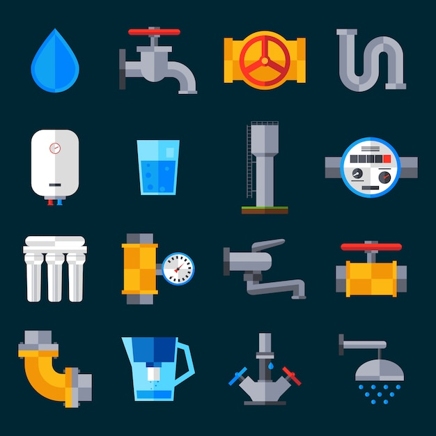 Water supply icons Free Vector