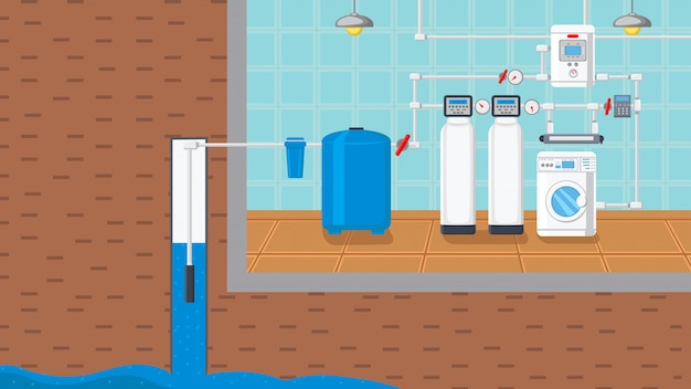 Water supply and purification system illustration Premium Vector