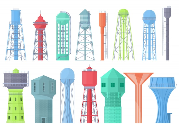 Water tower   tank storage watery resource reservoir and industrial high metal container water-tower illustration set Premium Vector