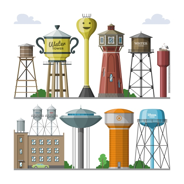 Water tower  tank storage watery resource reservoir and industrial high metal structure container water-tower in city illustration set of towered construction isolated on white background Premium Vector