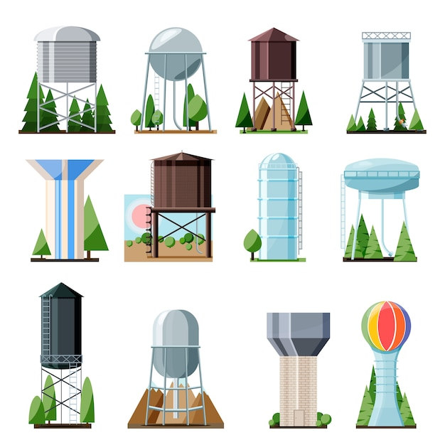 Water tower tank storage watery resource reservoir and industrial high metal structure container water-tower illustration set of towered construction isolated on white background Premium Vector