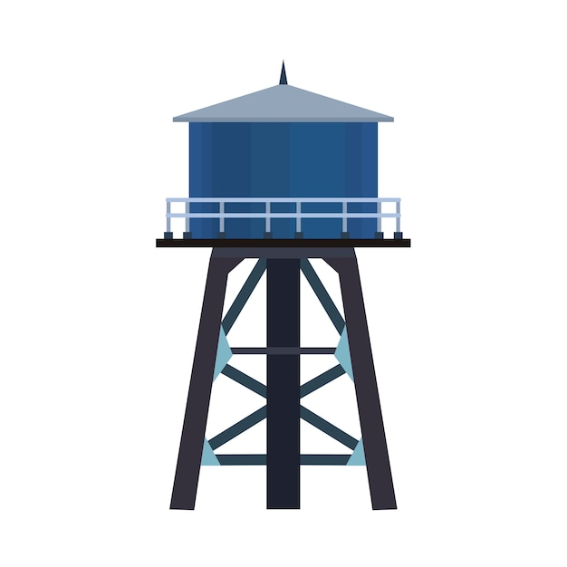 Water tower vector icon illustration tank isolated white. industrial architecture container Premium Vector