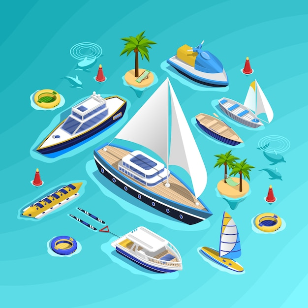 Water transport isometric collection Free Vector